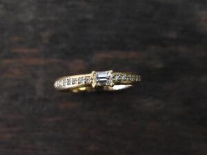 エメラルドカット ダイヤモンドリング K18