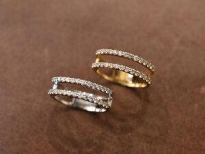 2ラインピンキーリング ダイヤモンド K18 プラチナ