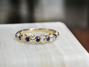 サファイア ダイヤモンド リング K18イエローゴールド