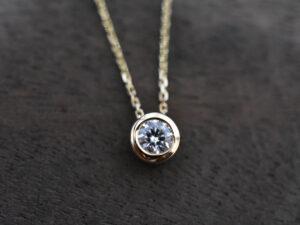 K18YG 一個石 ダイヤモンドネックレス 0.213ct
